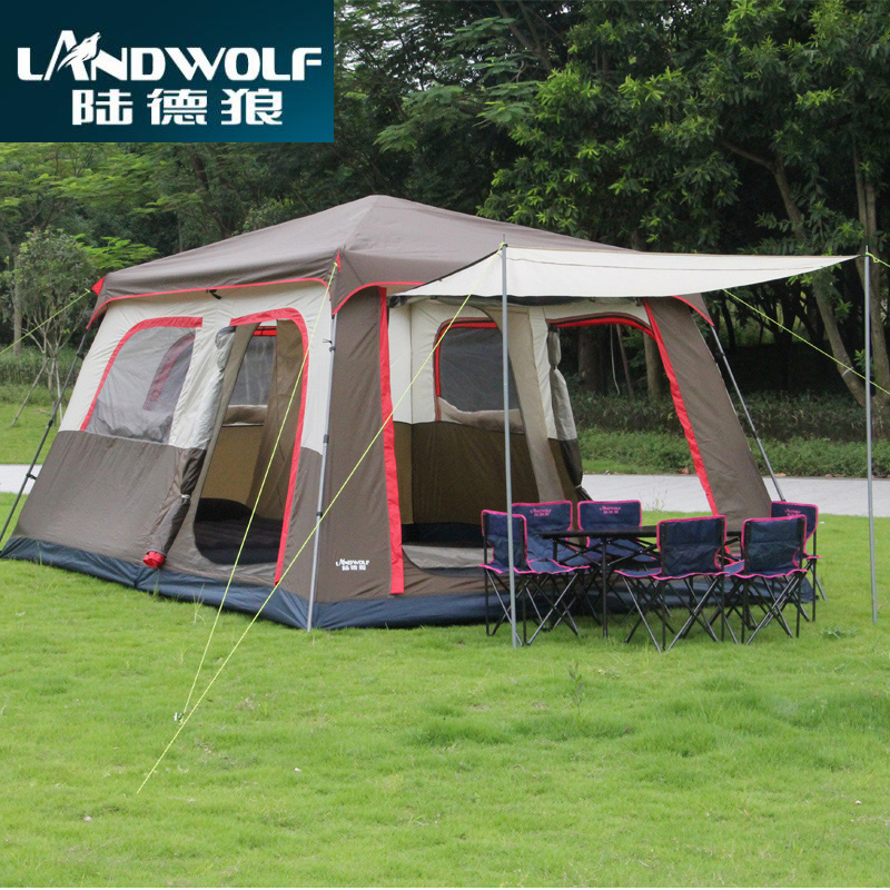 Landwolf Brown color Ultralarge 6 10 12 double layer outdoor 2living rooms and 1hall family camping tent include 1set front pole сонеты