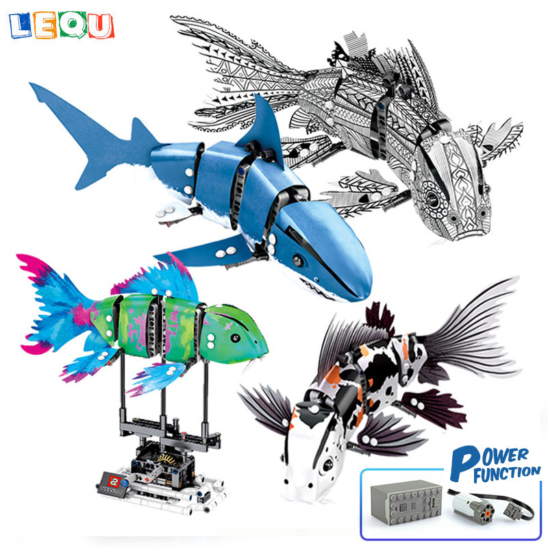Toys & Hobbies Imported From Abroad Simulated Moving Fish Creative Technic Building Blocks Koi Shark Kids Gift Bricks Diy Toy For Children Legoinglys Agreeable To Taste Blocks