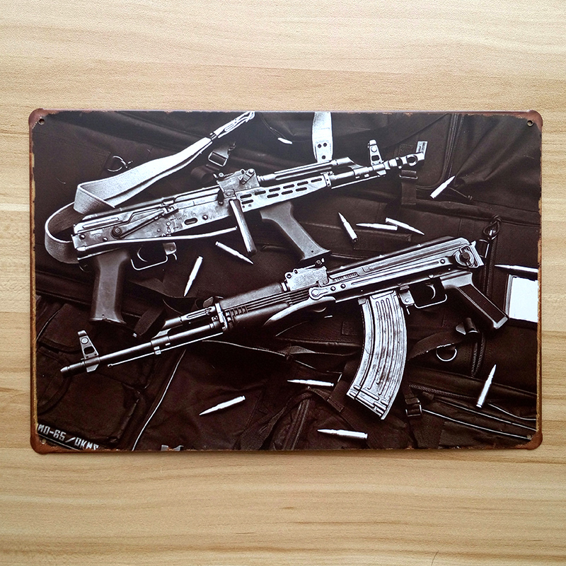 about machine gun ua 0047metal tin signs vintage home decor for bar vintage decorative plates