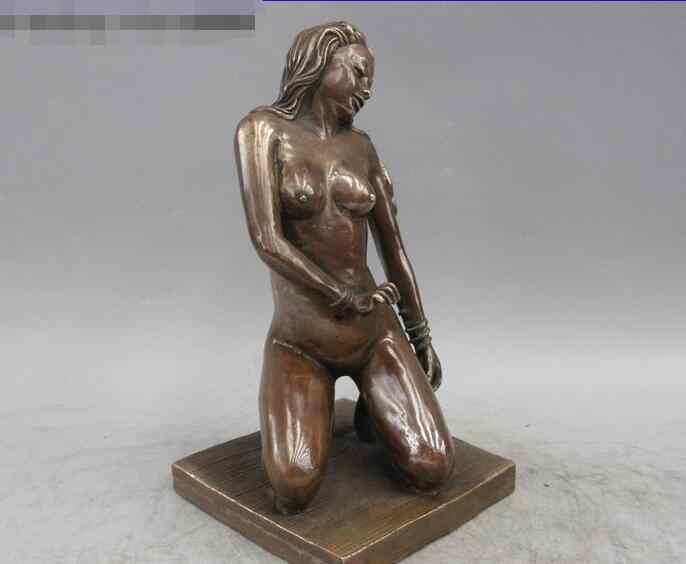 Sculpture d'art occidental Bronze cuivre Oomph nu tomber sur les genoux fille Belle Statue