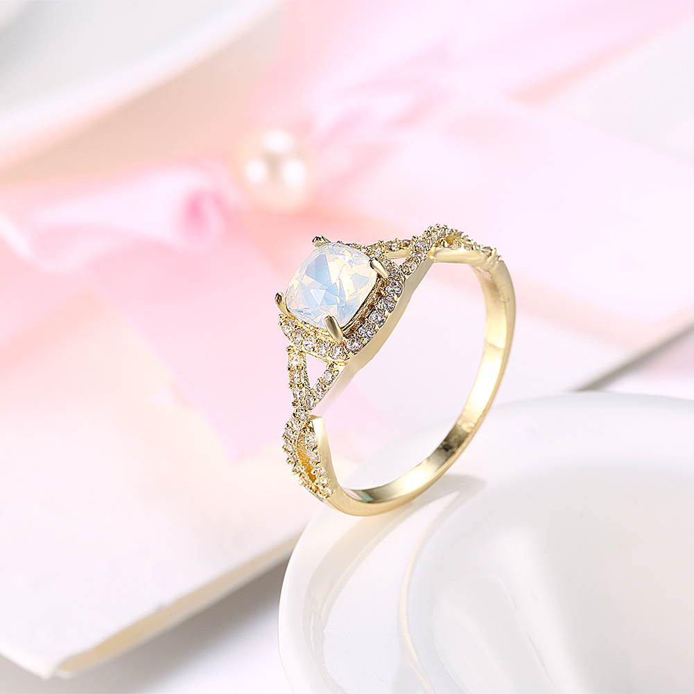 Women\'s Yellow Gold Color Opal Ring Trendy Party Geometric Wedding ...