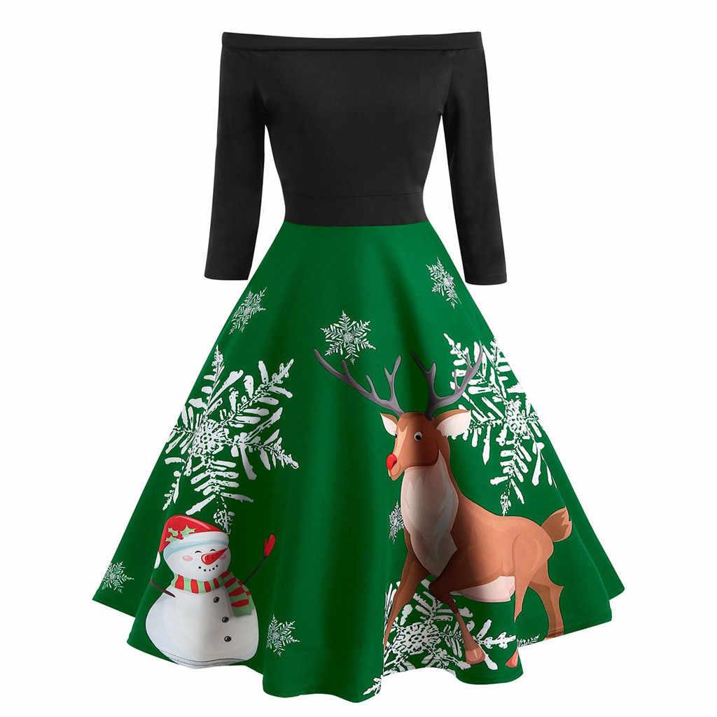 336880eae613 ... Christmas Dress Women Off Shoulder Print Vintage Evening Party Dress  Flare Dresses 2018 New robe noel ...