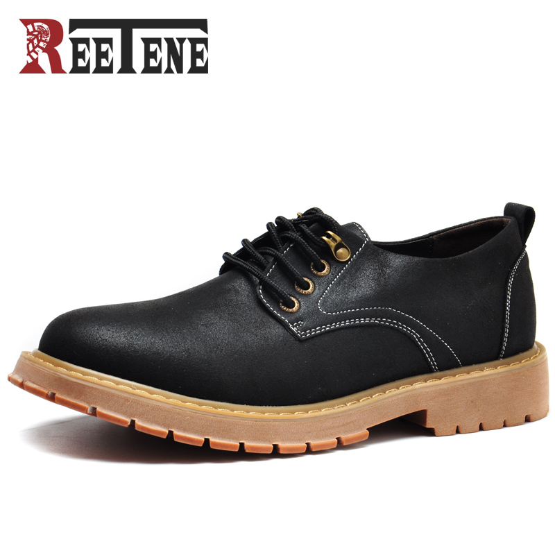 Reetene Brand Handmade Breathable Men's Oxford Shoes Top Quality Dress Shoes Men Flats Fashion Genuine Leather Casual Shoes Men