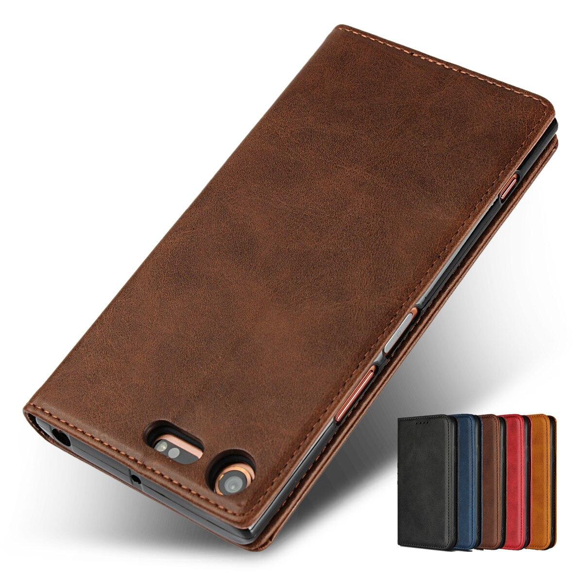 Étui en cuir Pour Sony Xperia XZ1 XZ Prime XZ2 Flip cas titulaire de la carte Étui attraction Magnétique Pochette de Couverture de Cas