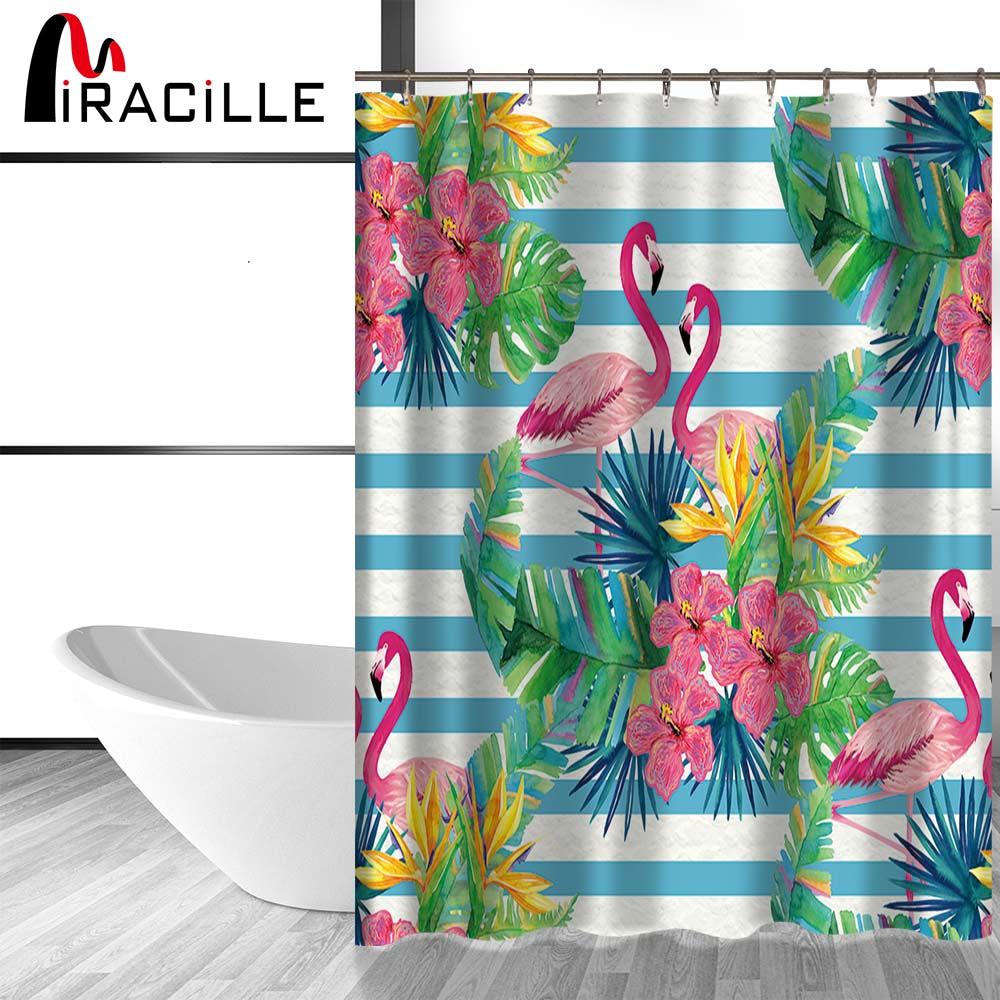 Salle De Bain Motif Fleur ~ miracille fleurs tropicales tanche rideaux de douche flamingo motif