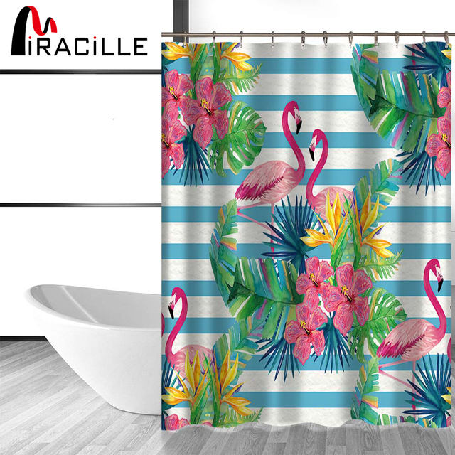 Merveilleux Miracille Tropical Flowers Waterproof Shower Curtains Flamingo Pattern Home Decor  Bathroom Accessories Bath Curtain With 12 Hook
