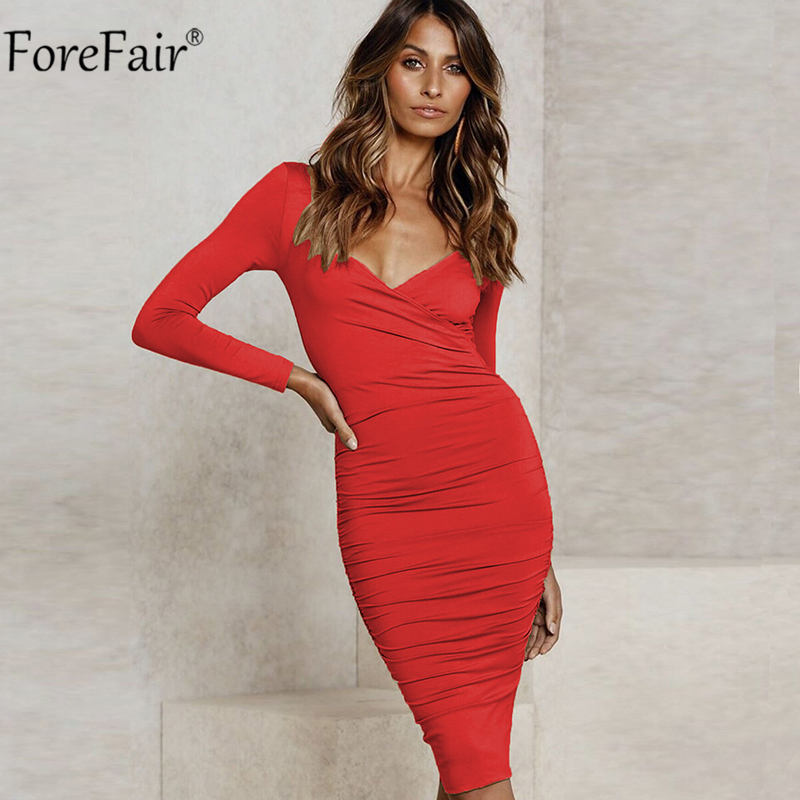 Forefair V Neck Wrap Bodycon Midi <font><b>Dress</b></font> Black <font><b>Winter</b></font> Autumn Women Long <font><b>Sleeve</b></font> Ruched Cross Solid <font><b>Sexy</b></font> <font><b>Casual</b></font> Red <font><b>Dresses</b></font> image