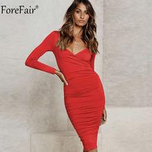 Forfair الخامس الرقبة التفاف Bodycon ميدي فستان أسود الشتاء الخريف المرأة طويلة الأكمام Ruched الصليب الصلبة مثير فساتين حمراء غير رسمية