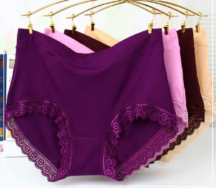 Women Bamboo Fiber Panty Mid High Waist Plus Size Female Underwear Girls Cotton Briefs  Plus Size XL 4Pcs/lot