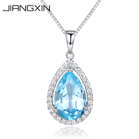 925 Sterling Silver Natural Aquamarine Angel Teardrop Blue Pendant Necklace Vintage Brand Fine Jewelry Elegant and Pure