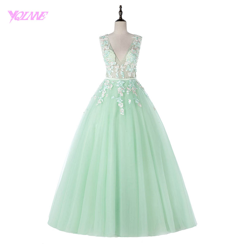 YQLNNE 2018 Mint Green Quinceanera Dresses Ball Gowns Sweet 16 Dress Lace Embroidery Tulle Vestidos De Debutante 15 Anos