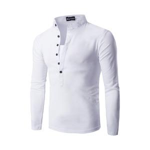 Image 5 - חדש מגמת שחור פולו חולצת גברים פולו Homme 2016 סתיו האופנה Mens Slim Fit ארוך שרוול הנלי חולצה מזדמן כותנה polos Xxl