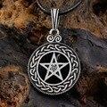1 piezas estaño nórdico Vikings colgante collar Celttic nudo pentagrama Pentáculo estrella Pewter Wicca colgante collar