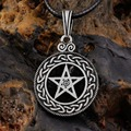 1pcs Pewter Norse Vikings Pendant Necklace Celttic knot Pentagram Pentacle Star Pewter Wicca Pendant Necklace