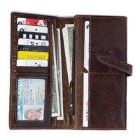 Moda Męska Portfel damski Torebka Skórzana Pieniądze Pas Krowy Długi Posiadacze Karty Kredytowej 2 Składane Passcard Monety Klipy portmonetki