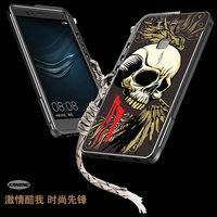 Cool Fanshion 3D Stereo Relief Painting Skeleton Skull Aluminum Metal Bumper Frame Cover For Huawei P9