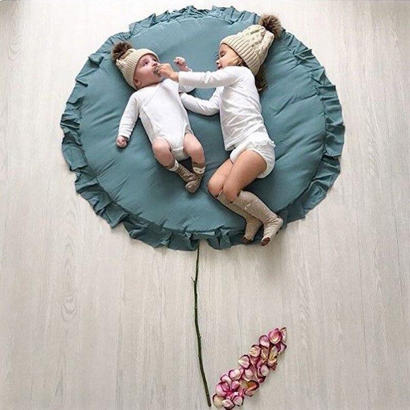 Tapis de jeu rond en dentelle de coton pour bébé tapis rampant pour bébé décoration de chambre d'enfants tapis de jeu bébé confort assis couverture pique-nique coussin