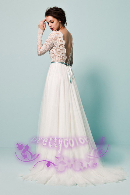 af0e99c4f8d A Line Chiffon New Fashion Vogue Long Wedding Dress Fantasy Lace Bridal  Dresses With Full Sleeved Open Back Design