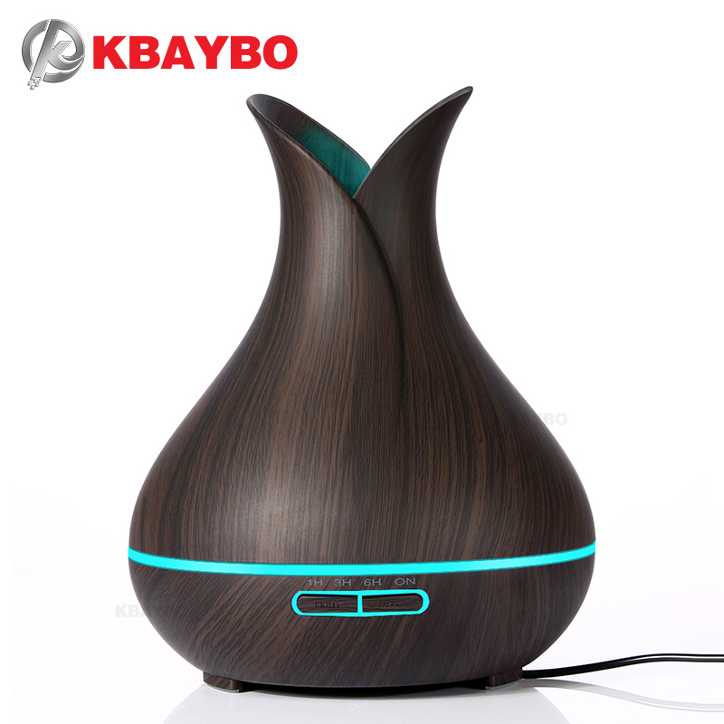 KBAYBO 400 ml eléctrica Aroma difusor de aceite esencial ultrasonido humidificador de aire madera grano Cool Mist maker LED noche luz para hogar