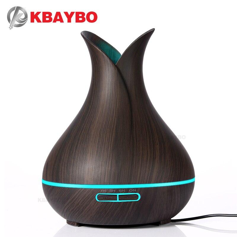 Kbaybo 400 ml aroma eléctrico Aceites difusor ultrasonidos humidificador de aire grano de madera Cool Mist Maker LED noche luz para casa