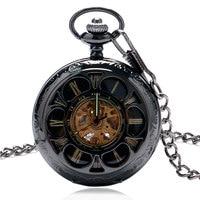قديم نمط الرجعية جوفاء زهرة غطاء النساء الساعات هدية ساعة الجيب ووتش التلقائية الميكانيكية relogio دي bolso mecanico