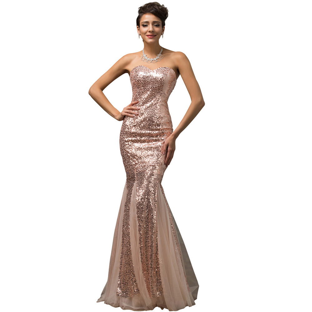 Sparkling Rose Gold Sequins Long Mermaid Prom Dresses Sweetheart Lace Up  Soft Tulle Plus Size Sexy Evening Gowns Owend Rack-in Evening Dresses from  Weddings ... 5d9c5d31fd8a