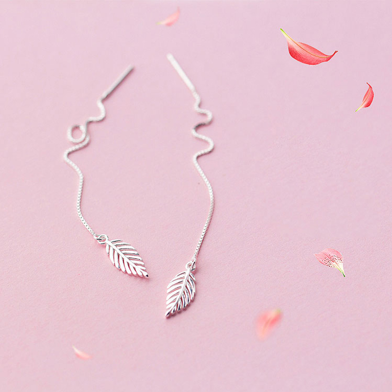 MloveAcc 100% 925 Sterling Silver Punk Feather Palm Leaves Long Drop Earrings for Women Earrings Jewelry BrincosMloveAcc 100% 925 Sterling Silver Punk Feather Palm Leaves Long Drop Earrings for Women Earrings Jewelry Brincos