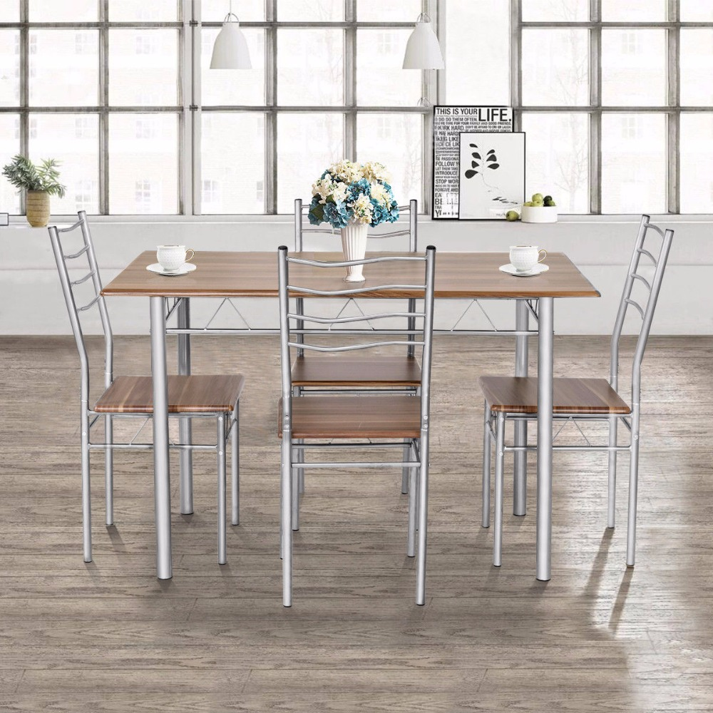 Goplus 5 Pieces Dining Table Set 1 Wooden Dining Table With 4 Dinig Chairs Metal Modern Kitchen Breakfast Furniture HW55389NA