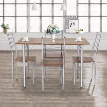 Goplus 5 Pieces Dining Table Set 1 Wooden Dining Table with 4 Dinig Chairs Metal Modern Kitchen Breakfast Furniture HW55389NA(China)