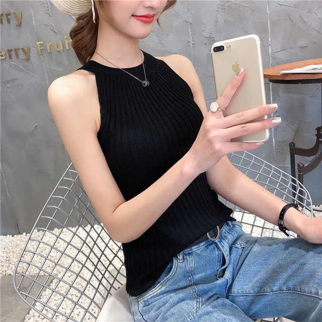 11242 Real-time photo of new round collar pure-color knitted suspender vest 15 8