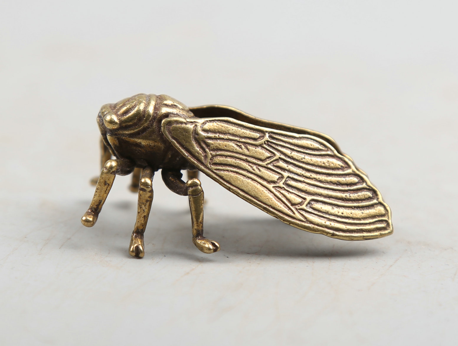 45MM 1 8 quot Collection Curio Rare Chinese Fengshui Small Bronze Exquisite Lovable Animal Cicada Golden Cicada Statue Statuary 22g in Statues amp Sculptures from Home amp Garden