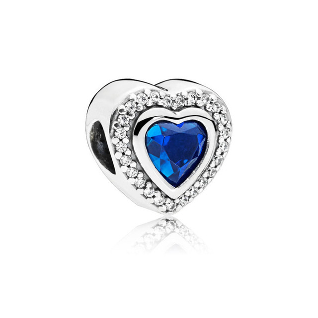 Clear CZ & Blue Crystal Silver Beads For DIY Beaded Bracelets Love Heart Winter Beads for Jewelry Making New Silver 925 Jewelry
