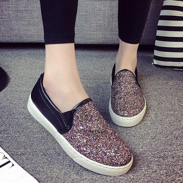 2016 новая весна мода с алмазными плоской подошве студентка квартира с большого размера обуви стразами небольшой Zapatos mujer