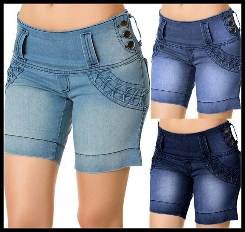 Women's Fashion Summer New Low Waist Street Style Button Wide Elastic Short Pants Demin Shorts Jeans S-3XL