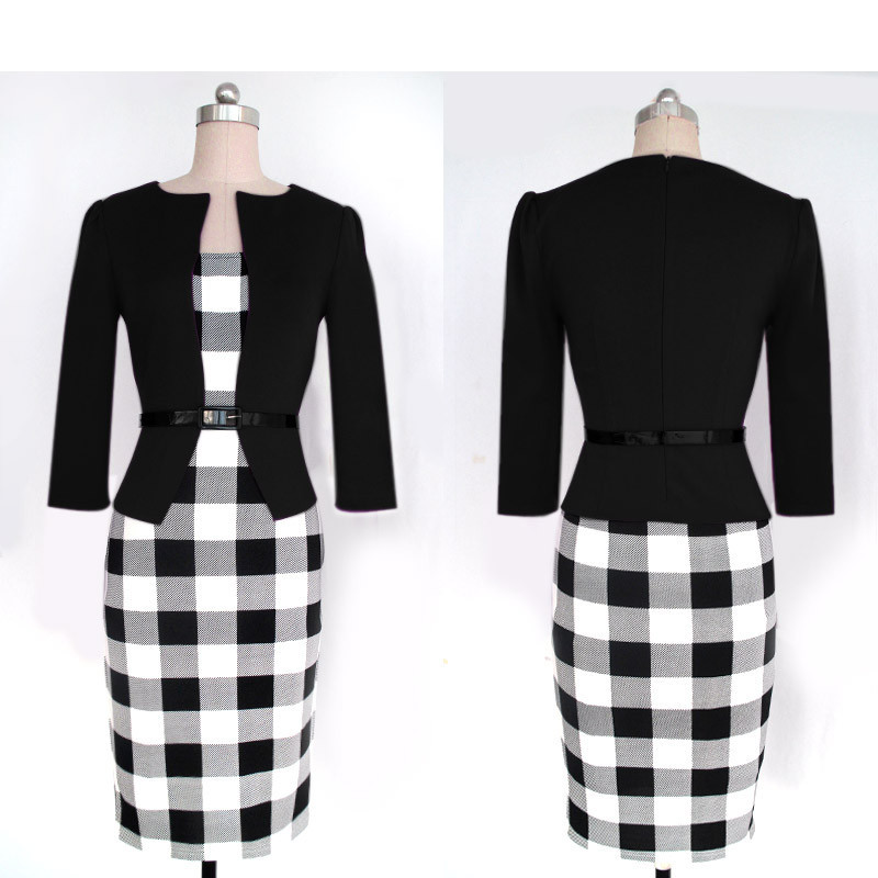 Aphrodit's Wardrobe Store ADW 2017 NEW Women Summer Elegant Belted Tartan Patchwork Tunic Work Business Casual Party Bodycon Pencil Sheath Dress