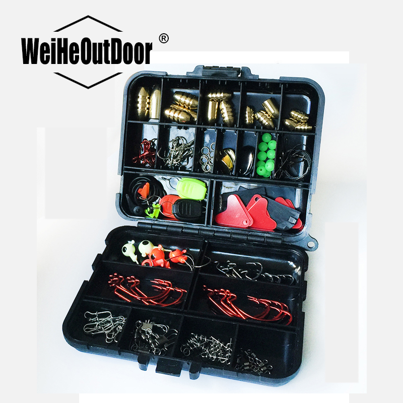 128Pcs/set Lure Fishing Accessories Tackle Box with  Fishhooks Fishing Lure Wire Connector Beads Ring Fishing Tools Set P fishing hooks box fishing lure wobbler tackle 18 5 10 3 1 3cm lure fishhooks classified storage box triangular notch