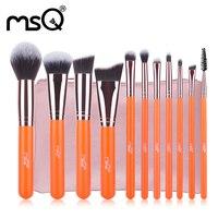 MSQ Pro 11 Unids/1 Unidades Pinceles de Maquillaje Juego de Manijas De Madera Pelo de la Fibra Artificial suave Fundación Rubor sombra de Ojos maquillaje cepillo