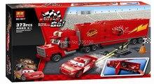 Free Shipping Pixar Cars 2 Mack Truck Hauler +small car red enlighten blocks educational toys legao compatible