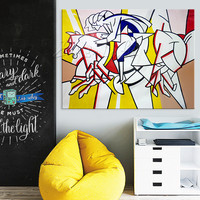 Lichtenstein Pop Art Cartoon Oil painting on canvas Hand painted Wall Art Picture for living Room Andy Warhol home decor 9