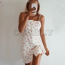 цена Cuerly Sexy heart print button short strap dress women Summer elegant beach casual dress female Beach daily sundress vestidos L5