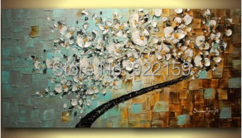 Ручной работы современных цветочным маслом белый Вишневый цвет Аннотация Палитры Ножи цветок живопись на холсте Домашний Декор стены Книги по искусству
