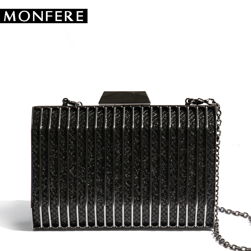 MONFERE evening bag women daily clutches frame handbag gold purse chain shoulder bag luxury shiny glitter metallic striped party