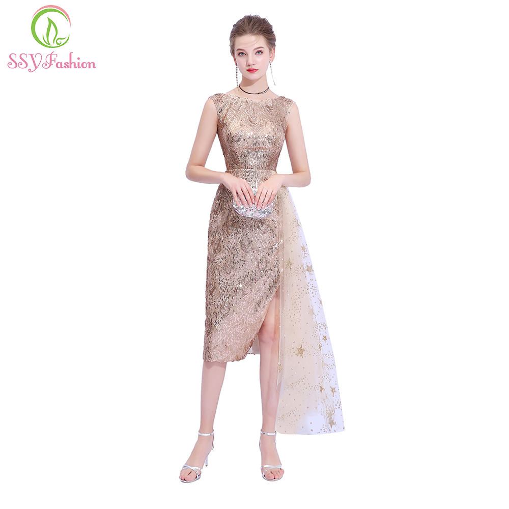 SSYFashion New Champange Gold   Cocktail     Dress   Sexy Slim Sequined Sleeveless Short Party Gown Custom Formal   Dresses   Robe De Soiree