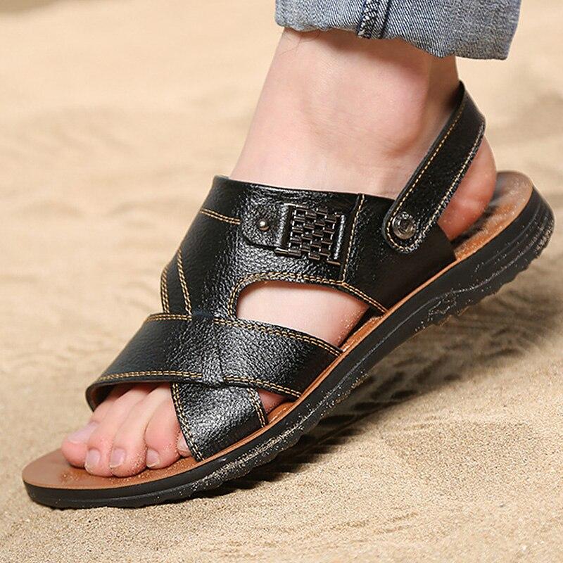 Mens sandals summer slip-on classics leather mens shoes comfortable wear-resistant flip flops brand sandalias hombre