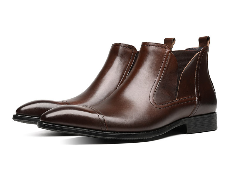 Fashion Black / Brown Pointed Toe Chelsea Boots Mens Dress Boots Genuine Leather Social Shoes Male Ankle BootsFashion Black / Brown Pointed Toe Chelsea Boots Mens Dress Boots Genuine Leather Social Shoes Male Ankle Boots