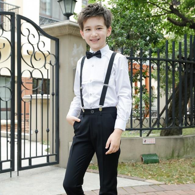 21650e9ea0 T015 Children s suit Boys performing piano chorus performance costumes  T-shirt+Trousers+suspenders+Bow Tie 4pcs Boy Set