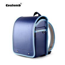 Coulomb Kid Orthopedic Backpack Baby Boys School Bags Japan PU Randoseru Portfolio For Boy Kinderrucksack