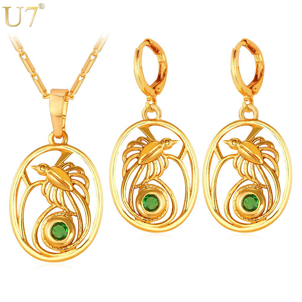 U7 the birds of paradise jewelry earrings and necklace sets for u7 the birds of paradise jewelry earrings and necklace sets for women indonesia papua new guinea jewelry gold color trendy s859 in jewelry sets from jewelry aloadofball Images