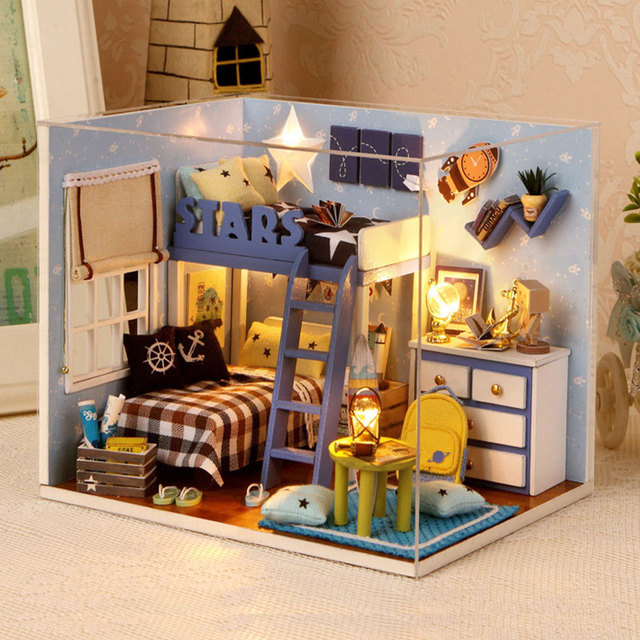 miniature wooden dollhouse furniture. Miniature Wooden Dollhouse Furniture Kit Boys Bedroom DIY Star Trek Doll House With Light Puzzle Toy D