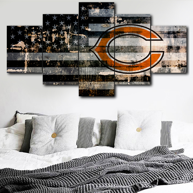 Modular Picture Wall Art Canvas Painting Print 5 Pieces Chicago Bears Sports Logo Poster Room Home
